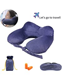 Travel Pillow, Disifen Inflatable Neck Pillow, Comfy & Compact, Neck/Back/Seat Cushion Portable Travel Set for Airplane Bus Office