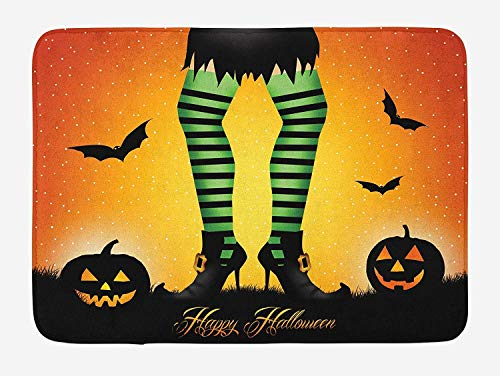 Wolanim Halloween Bath Mat, Cartoon Witch Legs with Striped Leggings Western Concept Bats and Pumpkins Print, Plush Bathroom Decor Mat with Non Slip Backing, 23.6 W X 15.7 W Inches, Multicolor (Hello Kitty Halloween Cartoons)