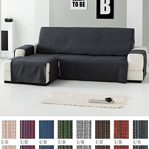 Funda Cubre Chaise Longue Práctica Modelo Erika, Color BEIGE (C/01), Medida Normal (240cm), con Brazo DERECHO (Mirándolo de frente)