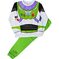 Buzz Lightyear Pyjamas Novelty Dress Up Pyjama Set Glow in The Dark, White, Green