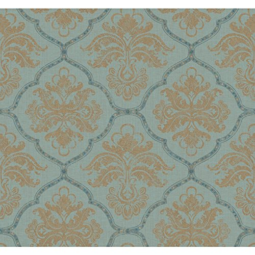 Gold Leaf Wallpaper (York Wallcoverings GF0725 Gold Leaf Framed Damask Wallpaper, Aqua, Metallic Gold, Teal by York Wallcoverings)