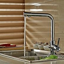 Auralum®Osmosis Caiman Urban - Grifo de cocina, 2 salidas combinadas agua