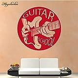 Guitare École Motif Stickers Muraux Mur Art Décor pour Salon Chambre Décoration Accessoires Vinyle Sticker 58X58CM...