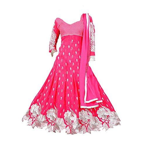 Jds Fashion Girl\'S Faux Georgette Anarkali Salwar Suit Set (Jds_Gajri_Cgkd_Pink_Free Size)