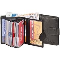 Portafoglio super-compatto con XXL tasche carte di credito per 18 carte in pelle naturale con (Portafoglio Compatto)