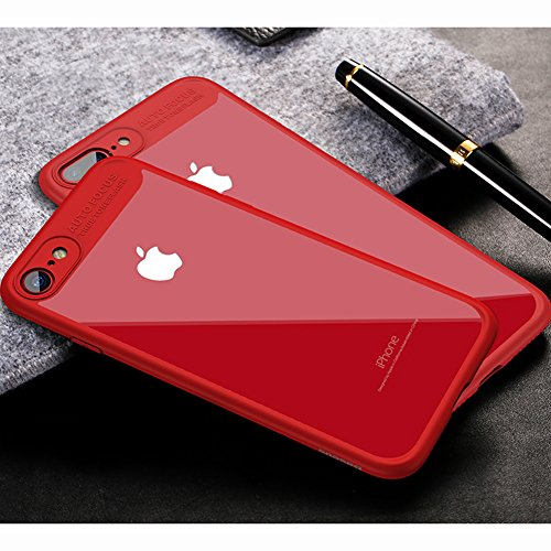 Cover Apple iPhone 7 (4.7), MSVII® Trasparente PC Posteriore Back Silicone Bumper Custodia Cover Case e Pellicola Protettiva Per Apple iPhone 7 (4.7) - Nero JY40025 Rosso