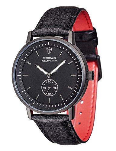 Detomaso Milano Classic – Reloj de cuarzo para hombres, con correa de cuero de color negro, esfera negra