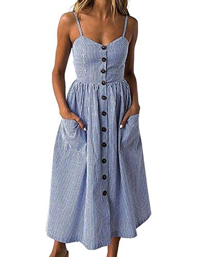 Yieune Sommerkleid Damen Strandkleid Ärmellos Blumenmuster Trägerkleid Knielang Abendkleider Sexy Partykleid Cocktail Kleid (Kleid Sexy Cocktail)