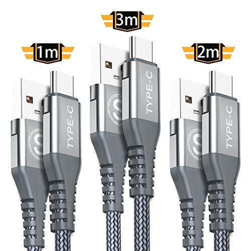 USB C Kabel Sweguard [3 Stück 3M/2M/1M] USB Type C Ladekabel,Nylon Type C kabel für Samsung Galaxy S9 S8 Plus,Note8 9 A5 A3 2017, LG G5 G6 G7, Huawei P9 P10 P20, Sony Xperia XZ Xa1, HTC 10/U11 (Grau)