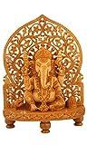 craftvatika 30,5cm Große Ganesha Statue Holz–handgeschnitzt–Lord Ganesha Skulptur aus Holz Elefant Hindu Deity God Figur Tempel