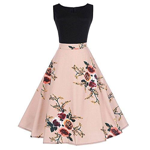 Lenfesh Vestido Pin up de Sin Mangas Round Collar con Lazo Verano Vestido Trapecio De Floral Rose Rockabilly (S, Rosado)