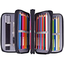 Newcomdigi Federmappe Schüleretui 72 Bleistift Inhaber Farbstifte Mehrzweck Etui Bleistift-Beutel für Schule Büro Kunst (Bleistifte sind nicht enthalten) -schwarz