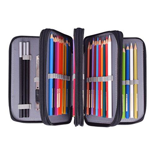 Newcomdigi Federmappe Schüleretui 72 Bleistift Inhaber Farbstifte Mehrzweck Etui Bleistift-Beutel für Schule Büro Kunst (Bleistifte sind nicht enthalten) -schwarz -