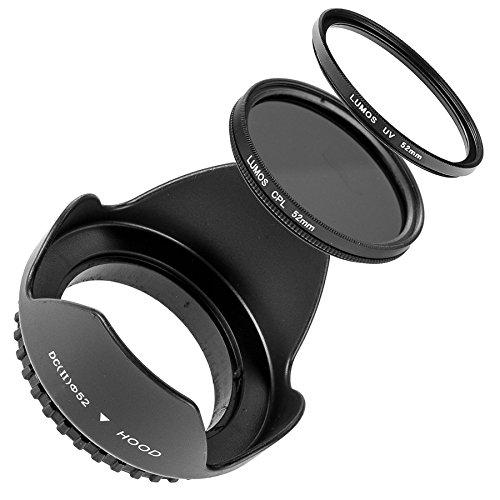 LUMOS 3er Set mit 52mm Gegenlichtblende UV Filter CPL Polfilter für jedes Kamera Objektiv mit 52mm Einschraubgewinde von Canon EF-M Nikon AF-S 18-55 55-200 D3200 D5300 D5500 Panasonic DMC FZ200 FZ300 52mm