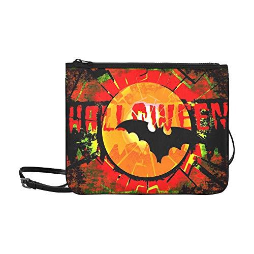 WYYWCY Grungy Resumen de Halloween Luna Llena Murciélago Personalizada Nylon de alto grado Bolso de embrague delgado Bolso cruzado Bolso bandolera