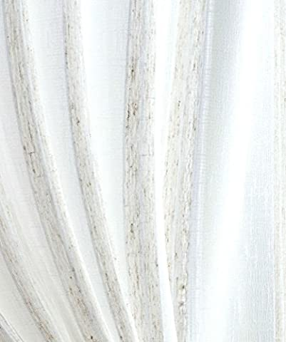 Fabric Sample for our LINEN STRIPE Semi Sheer Curtain Voile Panel by Showpiece Curtains and Voiles