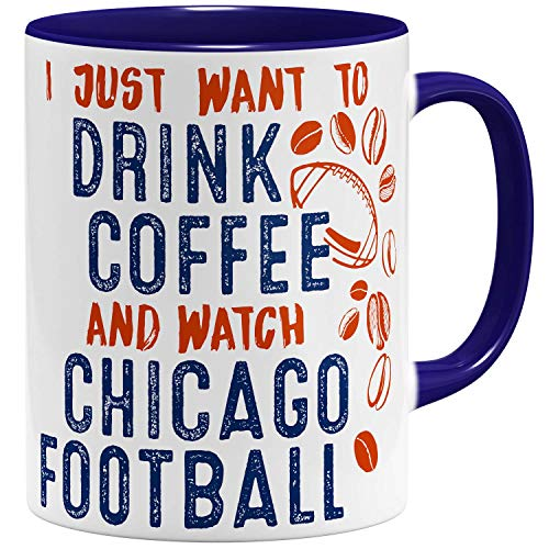 OM3® - Chicago-Coffee - Tasse | Keramik Becher | American Football Mug | 11oz 325ml | Beidseitig Bedruckt | Dunkelblau (Chicago Tassen Bears)