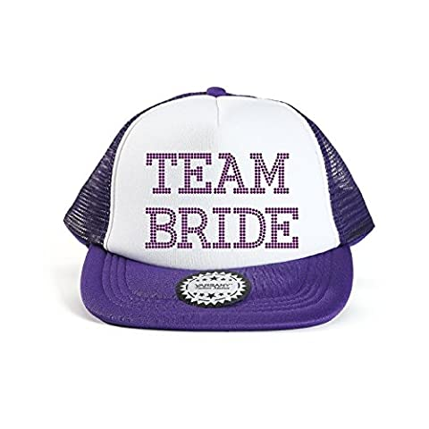 Purple Varsany® Team Bride Baseball Hat Crystal Bridal Wedding Party Trucker Cap bridal shower games invites invitations gifts decorations decor robe favours outfit squad tribe for guests sash gift bags back drops hen party t shirts accessoriesa