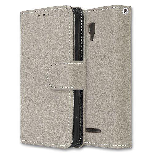 Alcatel Pixi First Hülle, Chreey Matt Leder Tasche Retro Handyhülle Magnet Flip Case mit Kartenfach Geldbörse Schutzhülle Etui [Beige]