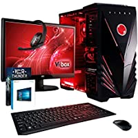 "Vibox Ultra Package 11 Gaming PC - with Warthunder Game Bundle, Windows 10, 21.5"" HD Monitor, Gamer Headset, Keyboard & Mouse Set (3.1GHz AMD A8 Quad Core Processor, Radeon R7 Graphics Chip, 1TB Hard Drive, 8GB RAM, Vibox Commando Red LED Case)"