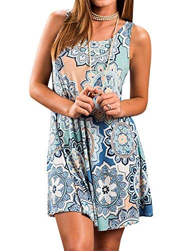 The Aron ONE Sommerkleider Damen Casual Ärmellos T-Shirt Kleid Kurzen Blumen Bedrucktes Strandkleider mit Taschen (Blau, XXL)