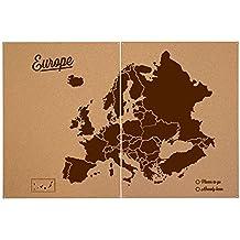 Miss Wood Woody Map XXL - Mapa del mundo de corcho con diseño Europa , color marrón