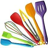 TTLIFE set de utensilios de cocina 7 unidades(Lengua/Cuchara Espátula/Espátula/Cuchara Raunada/Pincel para Salsas/Cuchara/Cucharón Sopero/Porta Utensilios)