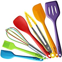 TTLIFE 7 pezzi colorati in silicone di cottura Set di set da cucina utensili da (Facile Loop Turner)