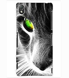 ColourCraft Scary Cat Look Design Back Case Cover for SONY XPERIA Z3
