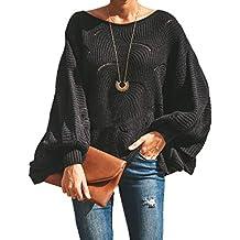Mujeres Suelto Suéter Moda Cuello Redondo Murciélago Mangas Jerséis Pulóver  Colores Lisos Sweater Prendas de Punto cdf9d3d82b13