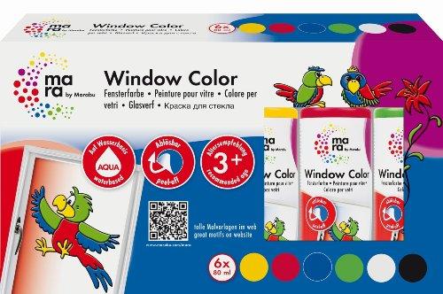 Mara by Marabu 042200087 - Window Color, 6 x 80 ml