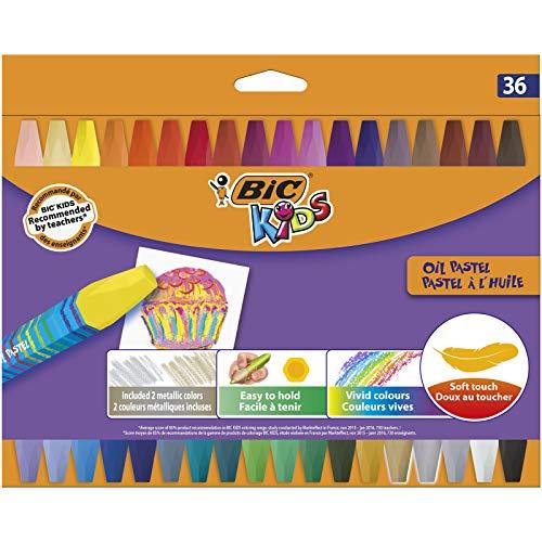 Bic kids pastelli a olio - colori assortiti, confezione da 36