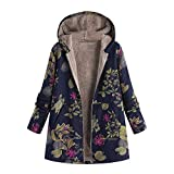 LoveLeiter Frauen Vintage Damen Fleece Dick Mantel Hoodie Pullover Strickjacke Winterjacke Dicke Wollmantel Outwear Floral Print Hooded Oversize Winter Parka Wintermantel Warm Winterjacken(Marine,M)