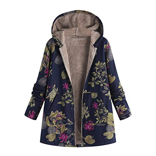 Dorical Damen Herbst Winter Warm Outwear Oversize Blumendruck -