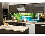 Küchenrückwand Folie selbstklebend ENTSPANNUNG IM WALD 260 x 60 cm | Klebefolie - Dekofolie - Spritzchutz für Küche | PREMIUM QUALITÄT