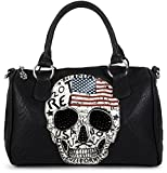 styleBREAKER Bowling Bag mit USA Design Totenkopf und schwarzem Strass