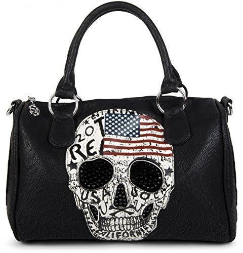 styleBREAKER Bowling Bag mit USA Design Totenkopf und schwarzem Strass, Handtasche, Damen 02012051, - Schwarz,  -