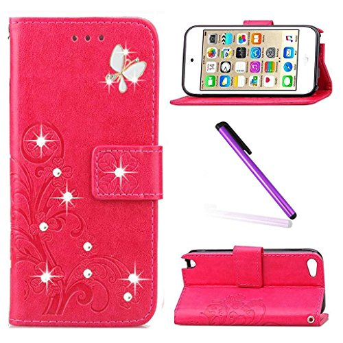 Weiße Ipod Touch (iPod Touch 5 Hülle Mädchen,iPod Touch 6 Hülle Rot,iPod Touch 5 Case,iPod Touch 6 Case,EMAXELERS iPod Touch 6G / 5G Kunstleder Flip Case Schutzhülle,iPod Touch 5 Hülle Glitzer Bling Cristal Schmetterling Clover Painted PU Leder Wallet Case Schutzhülle,iPod Touch 5 Hülle Bookstyle Handytasche Skin Schale Handy Tasche Flip Cover mit Standfunktion Karteneinschub Etui Handyhülle für iPod Touch 6 (6th Generation) / 5 (5th Generation),Rose Clover with Butterfly and Diamonds)
