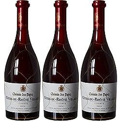 Chemin des Papes Vin Côtes du Rhône Villages AOP 75 cl - Lot de 3