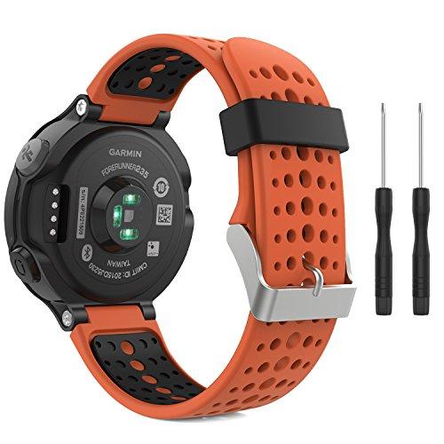 MoKo Armband für Garmin Forerunner 235/220 / 230/620 / 630/735 - Silikon Ersatz-Uhrenarmband Uhrenarmband Einstellbar Armband Replacement Wechselarmband, Orange/Schwarz