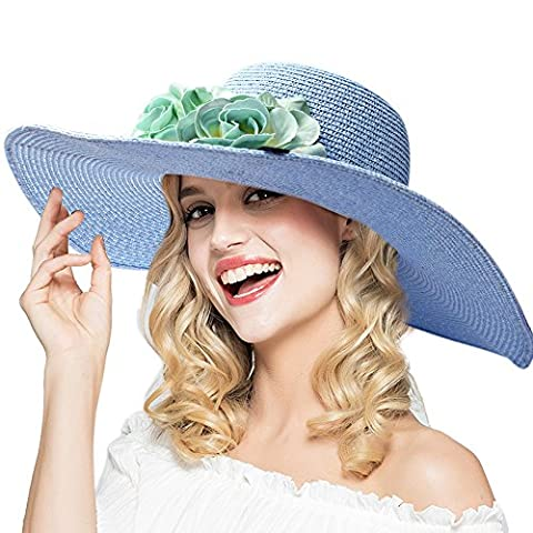 Ladies Summer Sun Hat Women's hats Big flowers Straw Hat Cotton / girl fashion Beach Hat Women Sunscreen Solid color Hat , Wide Brim Foldable.have Windproof rope.
