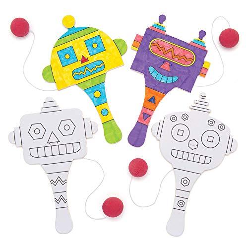 Baker Ross AW685 Paddleballschläger Roboter aus Holz, Ball ist mit Gummiband am Schläger befestigt (Packung mit 5). Perfekt für Jede Party, Weiß