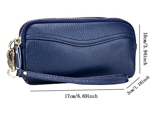 Geldbörse 17x10x3CM Damenhandtaschen Abendtasche Unterarmtasche iSuperb Clutch Handtasche Dunkelblau Leder RvqHwAw4