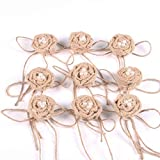 Pixnor 9PCS Burlap rose fiore in tela di iuta fiore per DIY Craft Christmas wedding abbellimenti