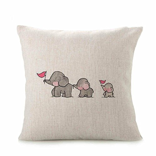 Indexp Cute Animal Cushion Cover, Soft Warm Sofa Home Decoration Throw Pillow Case Gift Set (Elephant, 45x45cm)