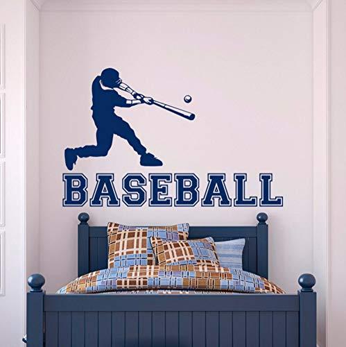 LTTGG Baseball-Spieler Wandaufkleber Gym Sport Vinyl Aufkleber Junge Schlafzimmer Teen Kinderzimmer College Wall Artist Residence Dekorative Wandbild 42x67 cm -