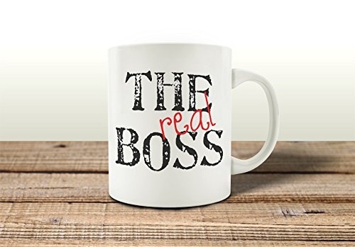 TASSE Kaffeebecher THE REAL BOSS Spruch Geschenk Chef Arbeit Büro Shabby