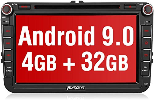 PUMPKIN Android 9.0 Autoradio für VW Radio mit Navi 4GB / 8 Core Unterstützt Bluetooth DAB + CD DVD WiFi 4G Android Auto USB MicroSD 8 Zoll Bildschrim 2 Din