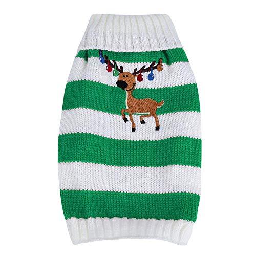 Fdit 1 Stück Haustier Hund Rosa Warme Strickwaren Pullover Teddy Weihnachten Glocke Deer Mantel Kleidung für Winter Strickwaren Entzückende Tragen Halloween Weihnachten ()