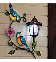 Solar Power Birds and Flower with Warm White LED Lamp/Lantern Decorative Garden Light Wall Art Plaque by Home Style